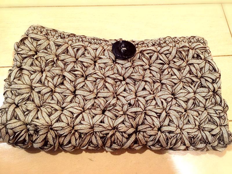 リフ編みポーチ